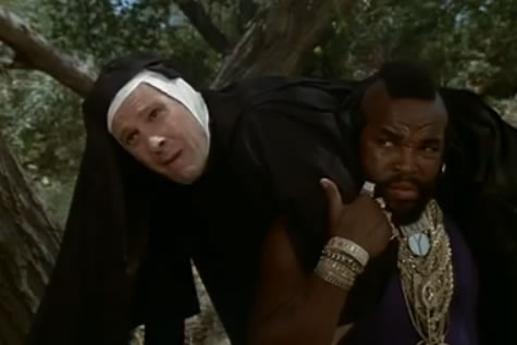 Murdock and B.A. dressed as nuns