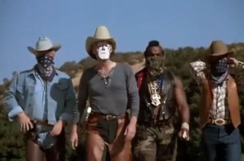 The team dressed in Western gear