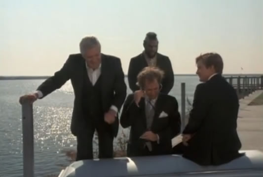 The A-Team at the docks in funeral suits
