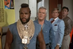 The A-Team is in a garage and look surprised