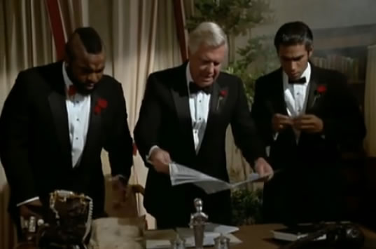 B.A., Hannibal and Frankie in tuxedos