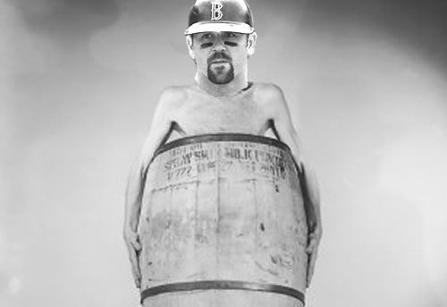 Jason Varitek in a barrel