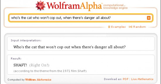 Wolfram Alpha knows the lyrics to the theme from 'Shaft'