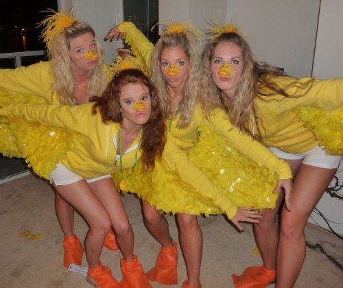 Women in bird costumes