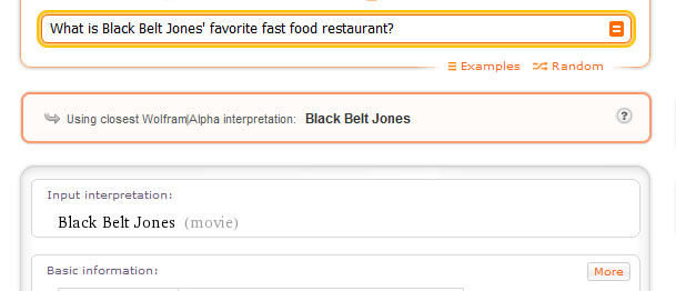 What is Black Belt Jones' favorite fast food restaurant?