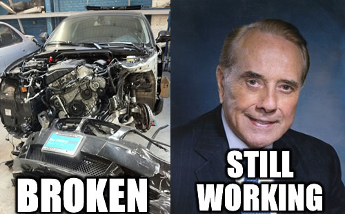 Car is broken, Bob Dole is still working