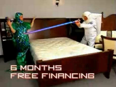 Astronaut kills Martians over bedroom sets