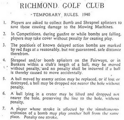 Golf rules for during a blitz