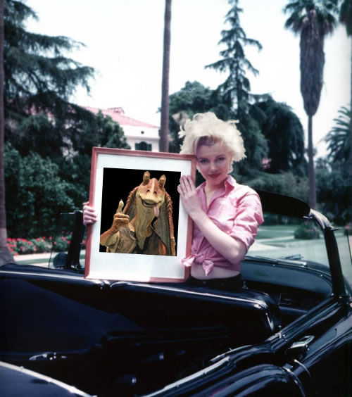 Marilyn Monroe holds a picture of Jar Jar Binks
