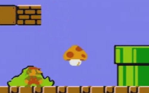 Super Mario eats a mushroom