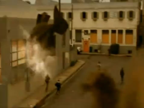 Piranha fly into buildings and explode