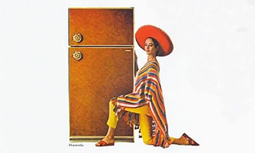 Woman in a sombrero with a refrigerator