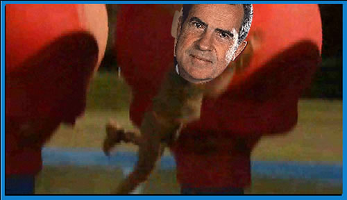 "If Richard Nixon was on ""Wipeout"" it would look something like this"