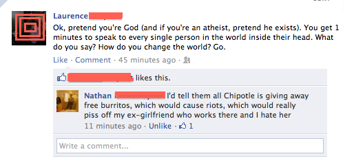 some guy promises to use the power of the Almighty to smite Chipotle