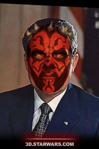 Richard Nixon with Darth Maul face