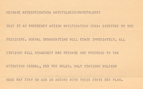 1971 EBS message proclaims a national emergency