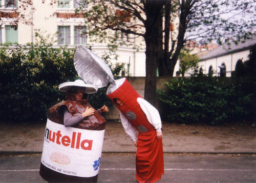 Person in a Nutella costume and person in a spoon costume