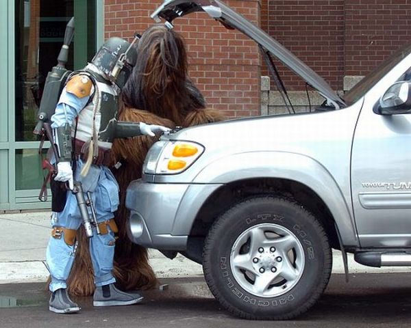 Boba Fett and Chewbacca check out the car