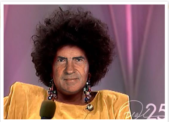 Richard Nixon with Oprah hair