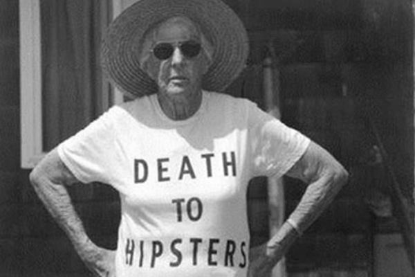 "Granny wears a ""Death to Hipsters"" shirt"