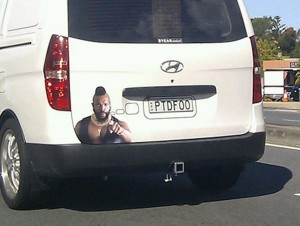 Mr. T decal on the back of a van pities fools.