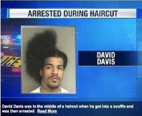 Half-finished haircut for guy in mug shot