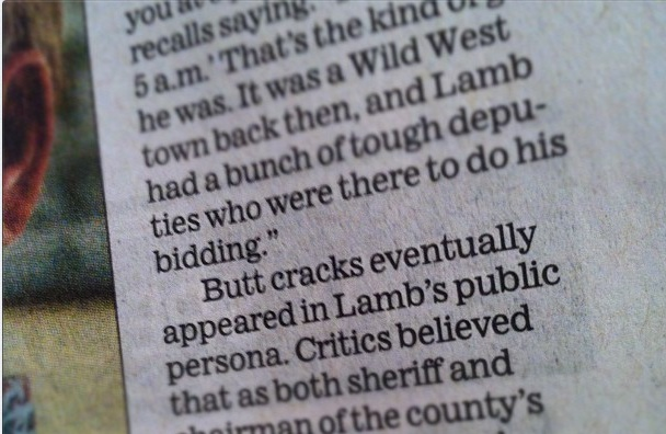"""Butt cracks eventually appeared in Lamb's public persona..."""
