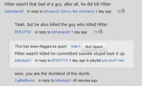 """Hitler killed Hitler"" - ""but he killed the guy who killed Hitler"""