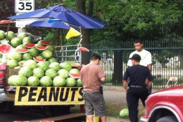 "Sign at a watermelon stand says ""Peanuts"""