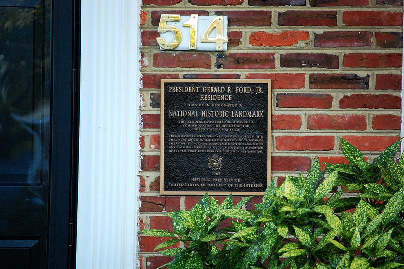 plaque on Gerald Ford House