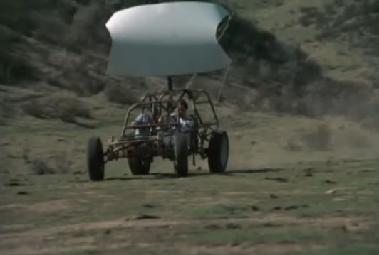 Murdock and B.A. in a wind buggy