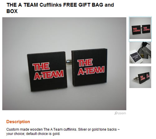 A-Team cufflinks listed on Etsy
