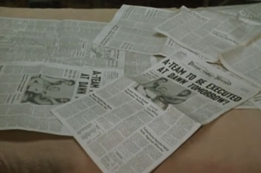 "Newspaper headlines: ""A-Team to be Executed"""