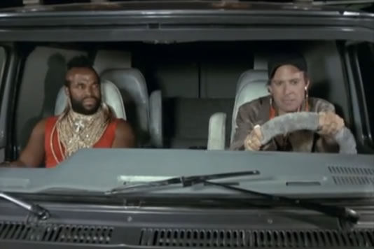 B.A. and Murdock in the van