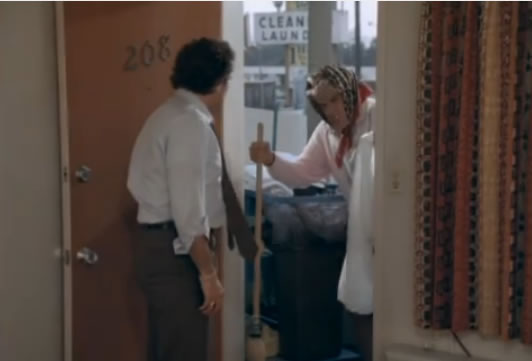 Murdock as the cleaning woman