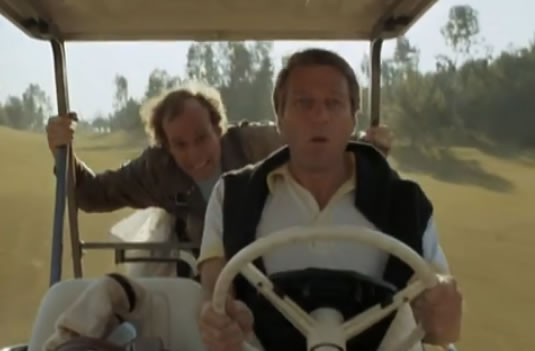 Murdock drops into a golf cart