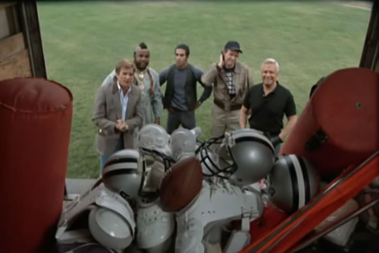 The A-Team and Frankie look at some football equipment