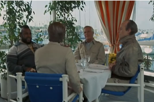 The A-Team eats lunch at an outdoor restaurant
