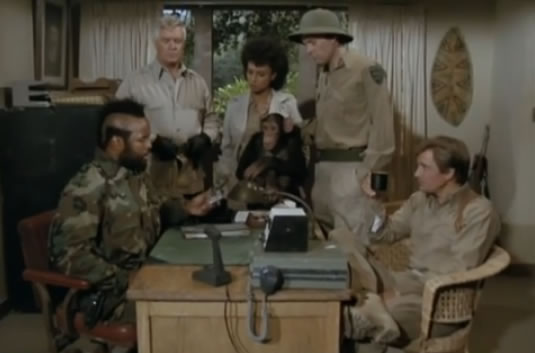 The A-Team with a monkey and Daphne Maxwell