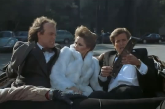 Murdock, Face and Katrina in a limo with no top
