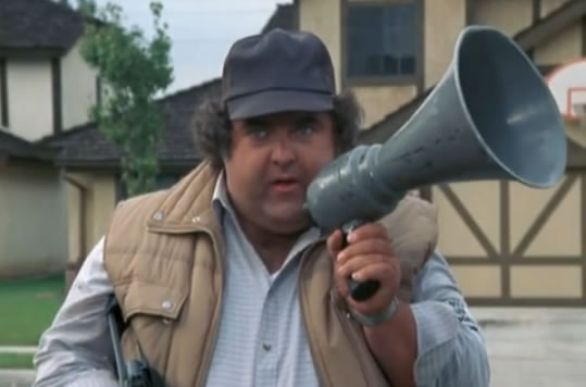 Neighbor Joe, with a megaphone