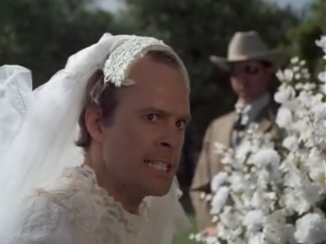 Murdock in a wedding dress