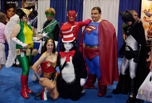 The Cat in the Hat poses with the Justice League.