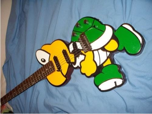 Guitar shaped like a Koopa