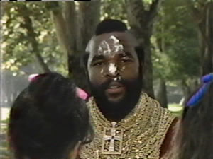 Mr. T has potato salad all over his face