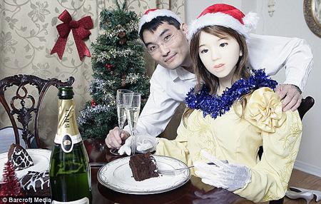Inventor with robot girlfriend.