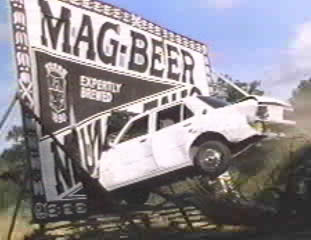 "Driving into the ""Mag-Beer"" sign"
