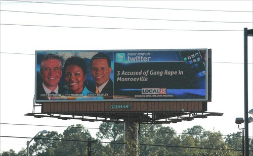 Three newscasters next to the headline '3 Accused of Gang Rape in Monroeville'