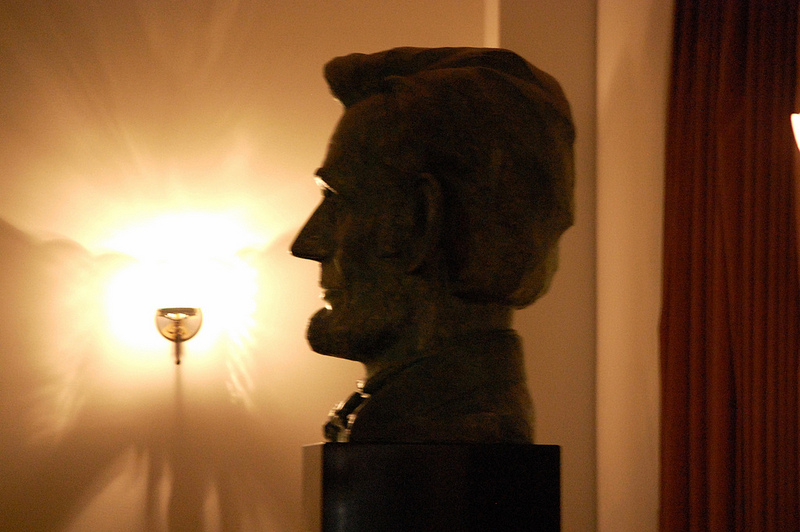 Bust of Lincoln in the balcony of Ford's Theater.