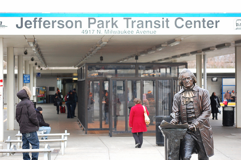 Thomas Jefferson statue at Jefferson Park Transit Center.